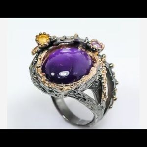 Jewelry - Natural Amethyst 925 Sterling Silver Ring 7.5